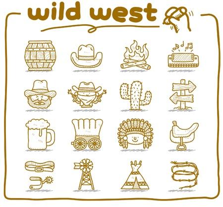 wild wild west: disegnati a mano selvaggio west, cowboy icona formato vettoriale set.doodle. Vettoriali