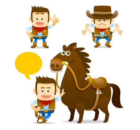 cowboy , horse collection Vector