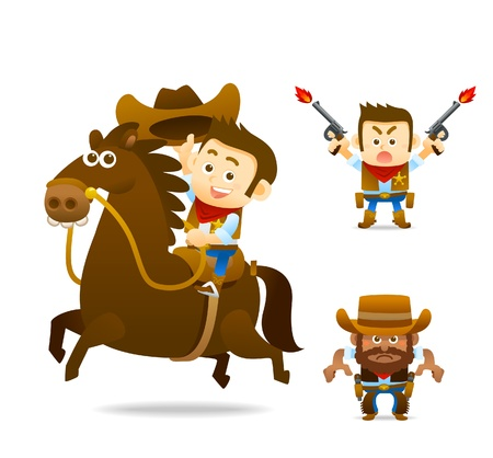parapente: owboy con la colección de caballos Vectores