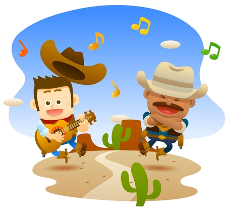 cowboys are singing and dancing Vector