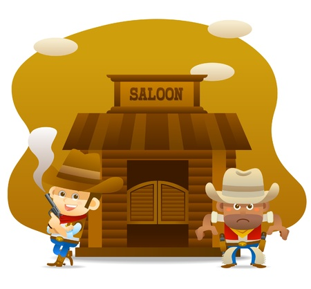 men bars: cowboy ready to fight Illustration