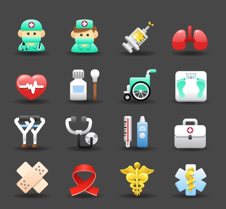 walking stick: Medical ,Emergency ,health care icons set Illustration