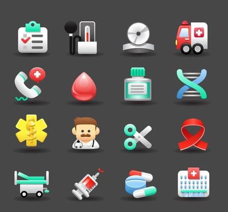 hospital dibujo animado: Médico, emergencia, iconos de salud establecidos