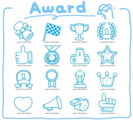 drawn metal: Hand drawn award icon set