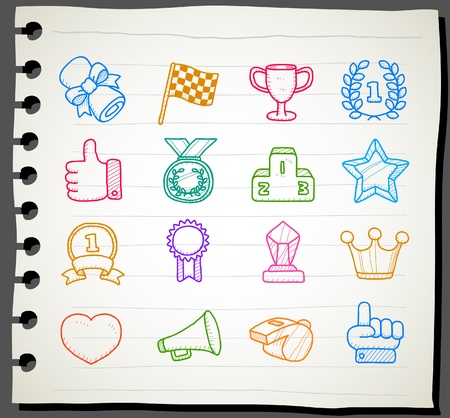 Hand drawn award icon set Stock Vector - 11270394
