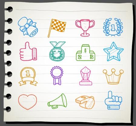 reward: Hand drawn award icon set