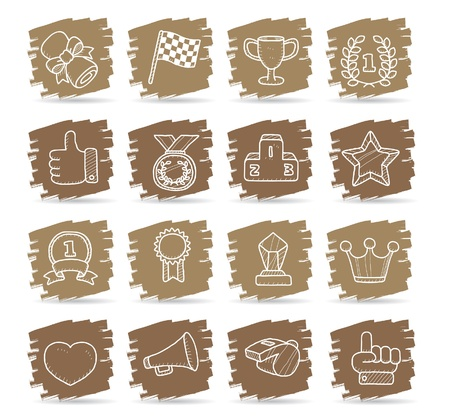 Hand drawn award icon set Stock Vector - 11270402