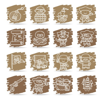 Hand drawn pirate icon set Stock Vector - 11270403