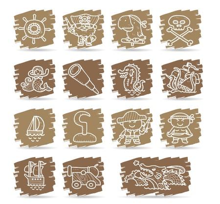 poison sea transport: Hand drawn pirate icon set Illustration