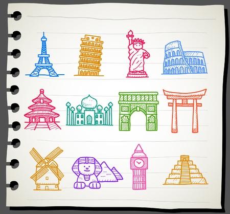 유명한: 손으로 그린 랜드 마크, 여행, 휴일, 휴가 아이콘 세트