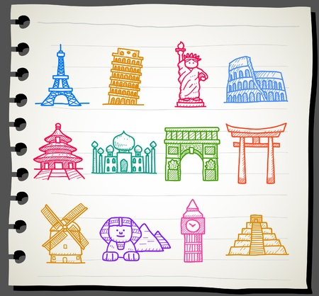 olanda: disegnata a mano punto di riferimento, viaggio, vacanza, Vacanze set di icone