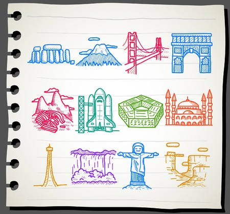 hand drawn landmark, travel,holiday,Vacations icon set