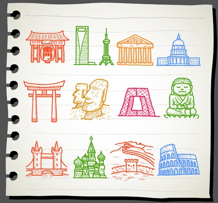 hand drawn landmark, travel,holiday,Vacations  icon set Vector