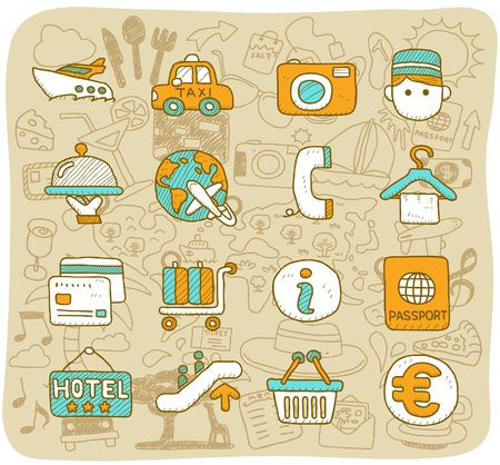 hand drawn travel,holiday,Vacations  icon set Vector