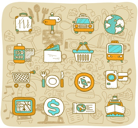 ilustration and painting: hand drawn travel,holiday,Vacations  icon set
