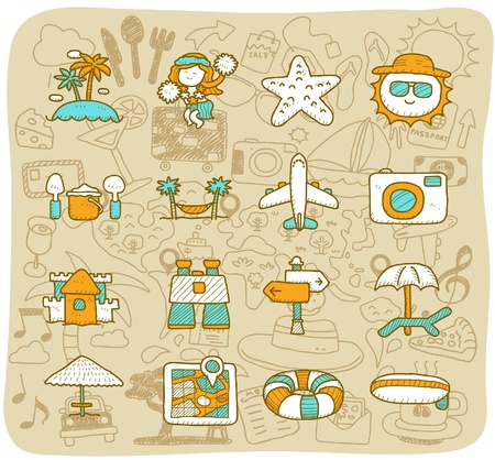 hand drawn travel,beach icon set Vector