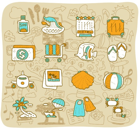 hand drawn travel,beach icon set Stock Vector - 11383288
