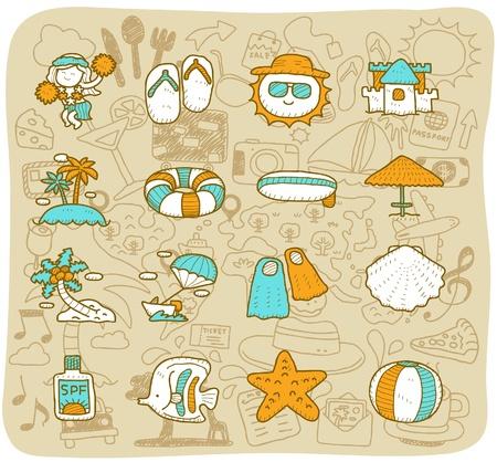 sun lotion: dibujado a mano los viajes, playa conjunto de iconos