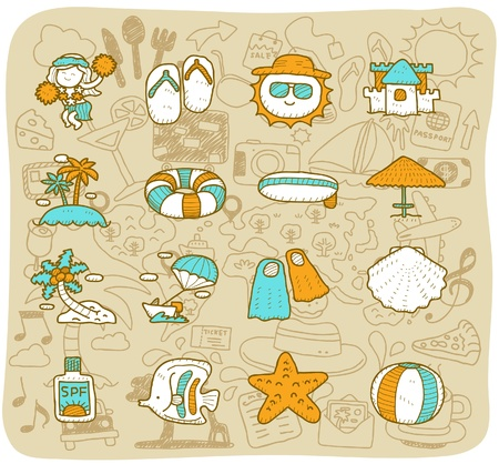 hand drawn travel,beach icon set Stock Vector - 11383287