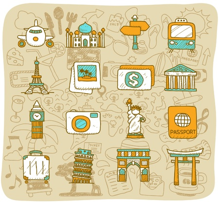 passport background: hand drawn landmark, travel,holiday,Vacations  icon set Illustration