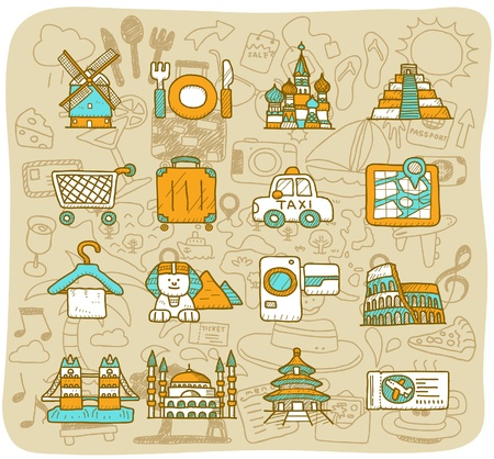 tourism russia: hand drawn landmark, travel,holiday,Vacations  icon set Illustration