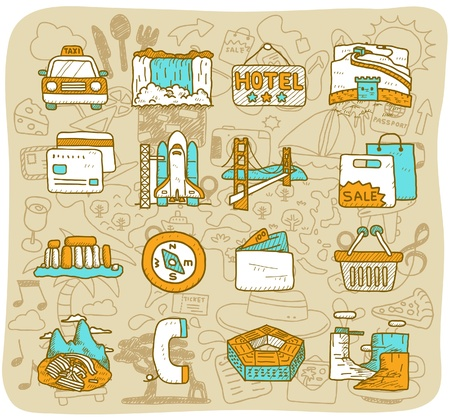 machu: hand drawn landmark, travel,holiday,Vacations  icon set Illustration