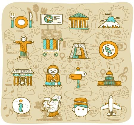 hand drawn landmark, travel,holiday,Vacations  icon set Illustration