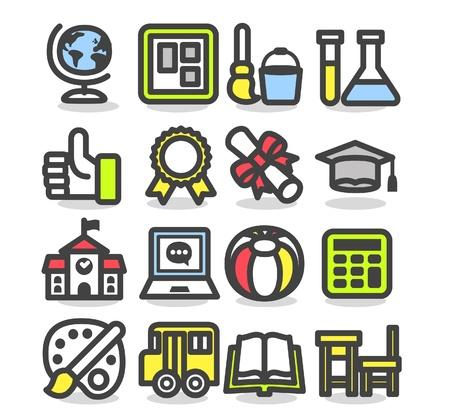 edificio escuela: la escuela, la educaci�n, la investigaci�n icon set Vectores