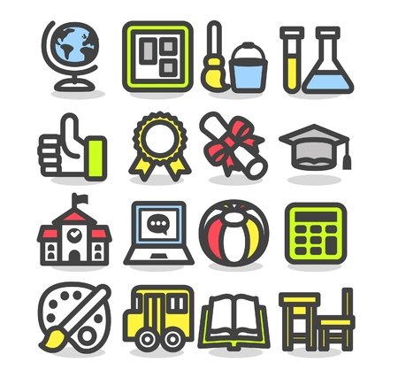 college building: school,education,research icon set Illustration