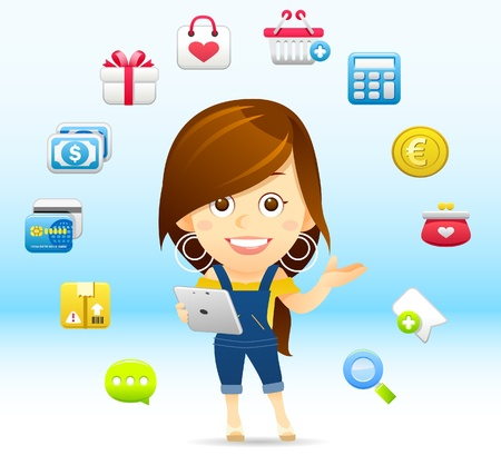 Shopping Lady with tablet PC Stock Vector - 11383296