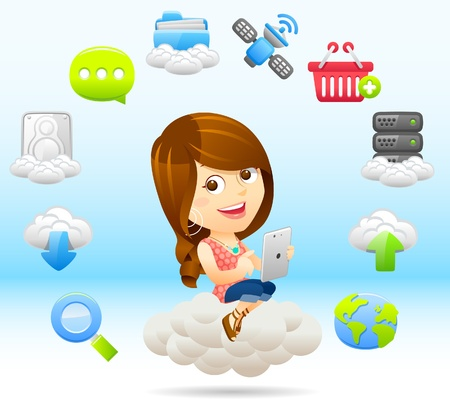 shopping cartoon: Shopping Lady with tablet PC and cloud computing,