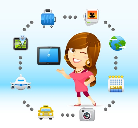 traveling lady with tablet PC Vector