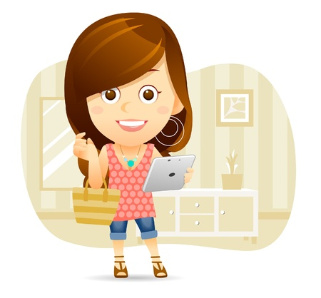 well dressed woman: Shopping Lady with tablet PC