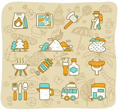 summer camp: Hand drawn travel,picnic ,camping icon set
