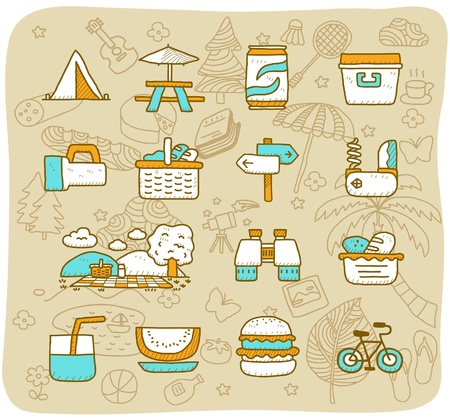 hand baskets: Hand drawn travel,picnic ,camping icon set