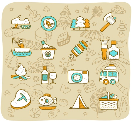 Hand drawn travel,picnic ,camping icon set Vector