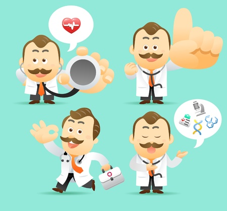 healthcare workers: Vector illustration. Doctor character collection Illustration