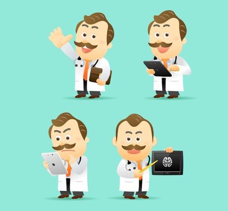 computadora caricatura: Ilustración vectorial. Médico con el conjunto de Tablet PC