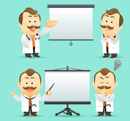 cheerful cartoon: Ilustraci�n vectorial. M�dico que den presentaci�n con pantalla de proyecci�n