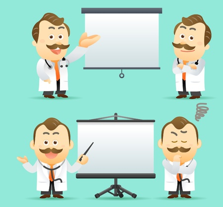 Vector illustration. Doctor giving presentation with projection screen Vector