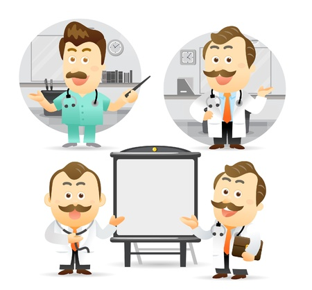 business meeting cartoon: Vector illustration. Doctor giving presentation with projection screen.