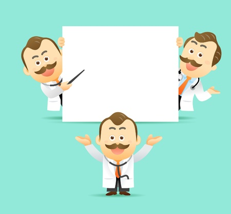 Vector illustration. Doctor holding blank sign showing something. Vector