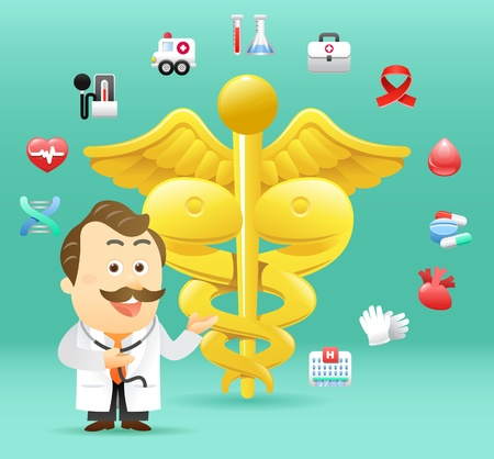 cartoon worker: Doctor con medicale icono de la colecci�n