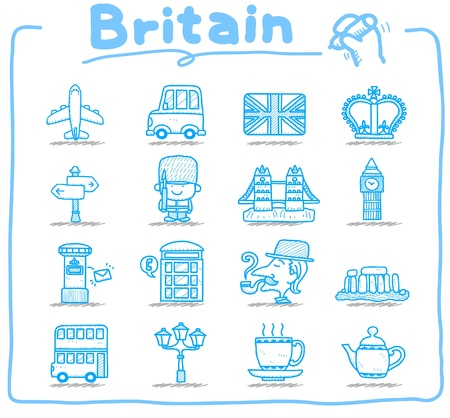 Hand drawn Britain,The United Kingdom icon set Vector