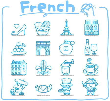 Hand drawn French,Europe,travel,landmark icon set Stock Vector - 11383316