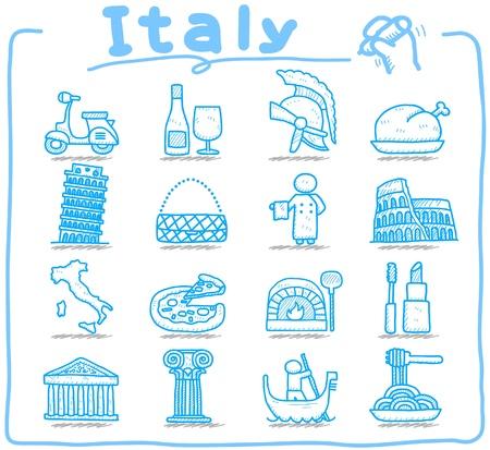 colosseo: Disegnati a mano in Italia, italiano, l'Europa, viaggiare, punto di riferimento set di icone Vettoriali