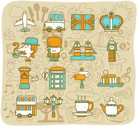 english culture: Hand drawn travel,landmarks,UK,Britain icon set. vector format. Illustration