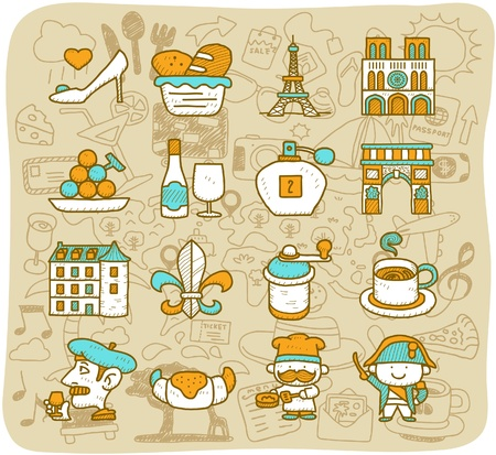 Hand drawn travel,landmarks,French,Paris icon set. vector format. Vector