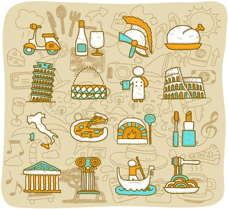 history architecture: Hand drawn travel,landmarks,Italy,Roma,europe icon. vector format. set