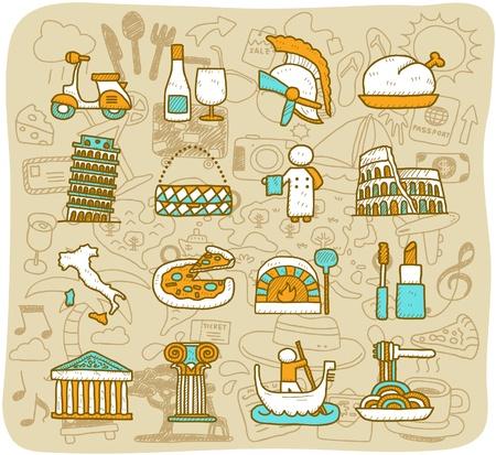 colosseo: Viaggio disegnato a mano, punti di riferimento, in Italia, Roma, europa icona. formato vettoriale. set Vettoriali